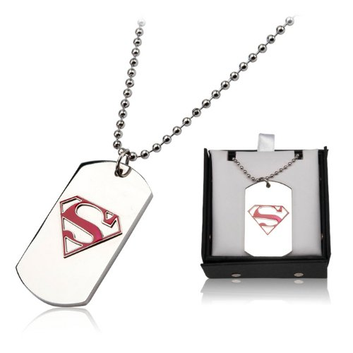 DC Comics Official License Superman Red S Dog Tag Pendant with Ball Chain Necklace