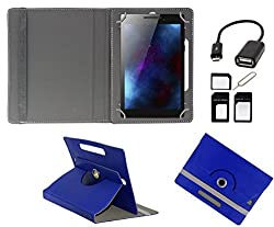 ECellStreet 360° Degree Rotating 7 Inch Flip Cover Diary Folio Case With Stand For Anwyn AERO-AW-T702 - Dark Blue + Free OTG Cable + Free Sim Adapter Kit