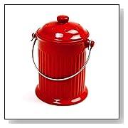 Red Ceramic Kitchen Compost Crock