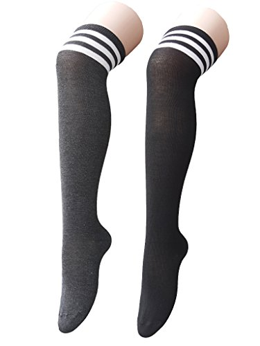 Zando Womens Athlete Thin Stripes Thigh High Over Knee Socks G 2 Pairs 2 Jersey Knit Cheer Shorts