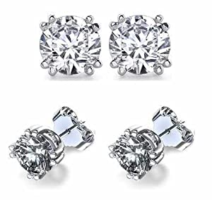 It's Sterling Silver Double Prong .925 Cubic Zirconia Stud Earrings Set in Basket Settings, 2.00 Carat Total Total Weight, 1.00 Carat Each White Cubic Zirconia Stone