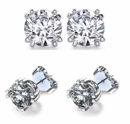 It's Sterling Silver Double Prong .925 Cubic