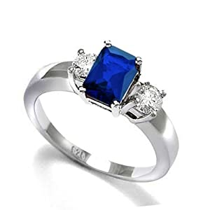 Bling Jewelry Sterling Silver 1.5 ct Emerald Cut Blue Sapphire Color CZ Three Stone Engagement Ring - Size 9 from Bling Jewelry