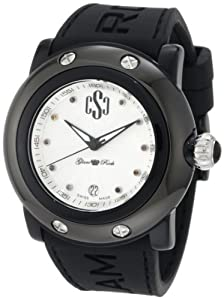 Glam Rock Women's GRD60003/NCR Miami Beach Silver Textured Dial Black Silicone Watch