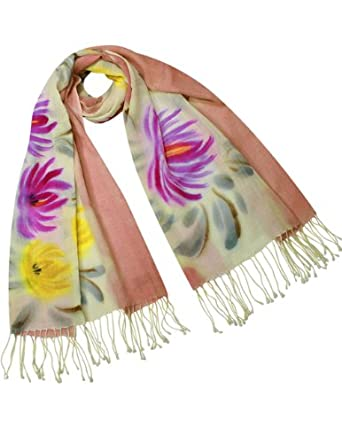 Dahlia Women's Merino Wool Blend Scarf - Hand Painted Chrysanthemum Blooming