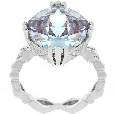 Silver-Tone Contemporary Lavender Cubic Zirconia Flirtation Engagement Ring Size: 9