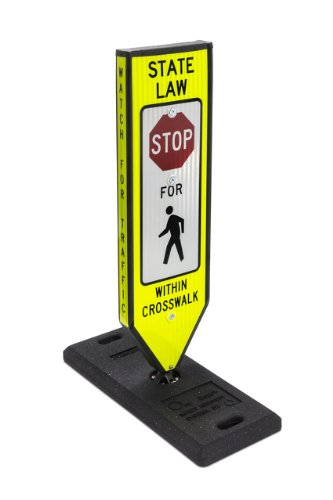 Omni-Ped, Stop, 4-Sided In-Road Crosswalk Sign, Includes Portable 40 Lbs One Base & Qr Pin