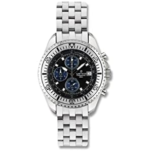 Men's Sartego Ocean Master Chronograph Watch with Three Subdials Black Dial