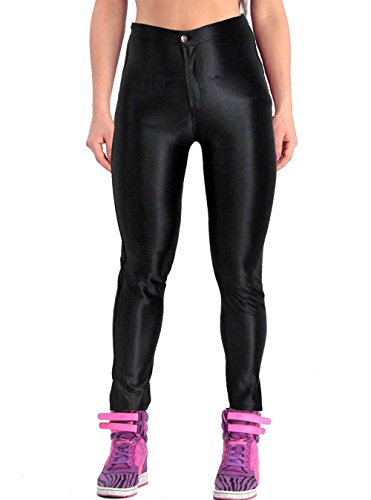 ABUSA Women's Stretch Leggings Disco Satin Pants Medium Black (Disco Pants American Apparel compare prices)