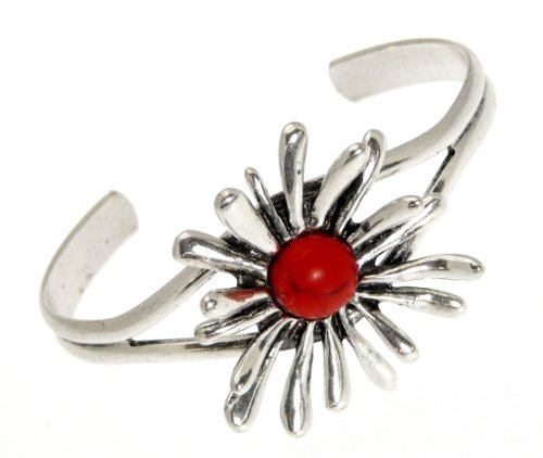 Beautiful Ladies Starburst / Flower Metal Bracelet Bangle With Inset Coloured Stone - In Gift Bag ? A
