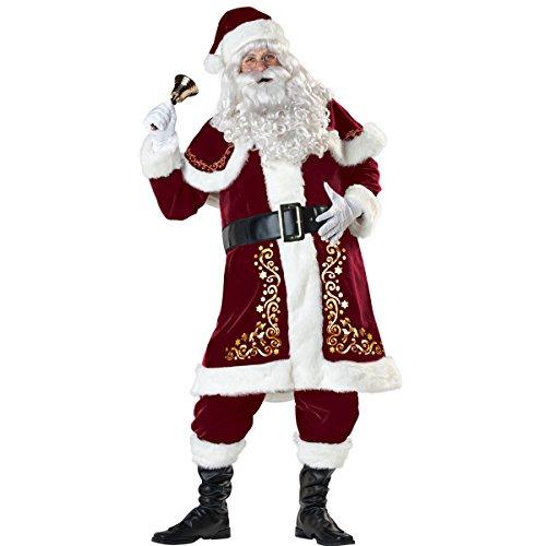 ISEYMI Santa Claus Costume Luxury Suit Halloween Adult uniforms Plus Size L-3XL (Halloween Suits Men)