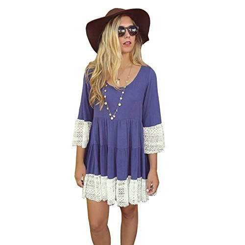 MIXMAX-Women-Bohemian-Flare-Sleeve-Lace-Splice-Loose-Tunic-Dress