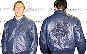 Cleveland Indians Navy on Navy Plonge Leather Jacket Non-Reversible With Leather... by JH Design Group