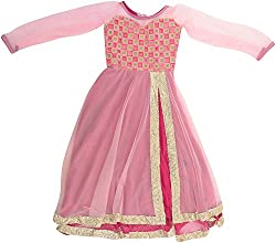 Kanchoo Girls' Long Frock (BSKF005_1-2years, Pink, 1-2years)