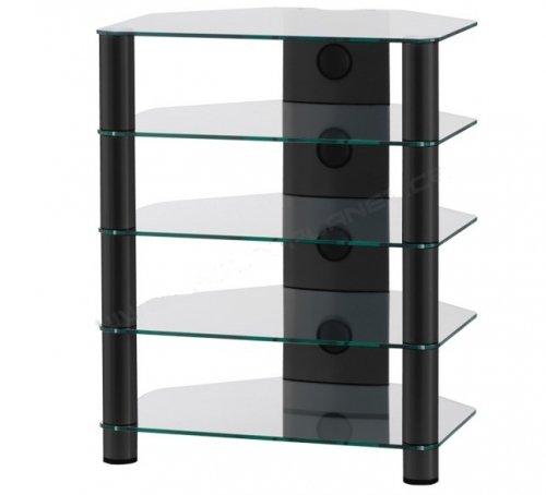 RX2150 TN - Mueble HIFI 5 estantes. Vidrio Transparente / Chasis negro.
