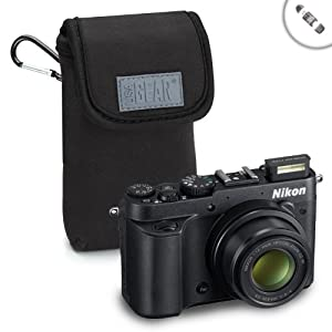 USA GEAR FlexArmor D55 Neoprene Digital Camera Carrying Case With Belt Clip for Nikon CoolPix - Includes 4-In-1 Card Reader