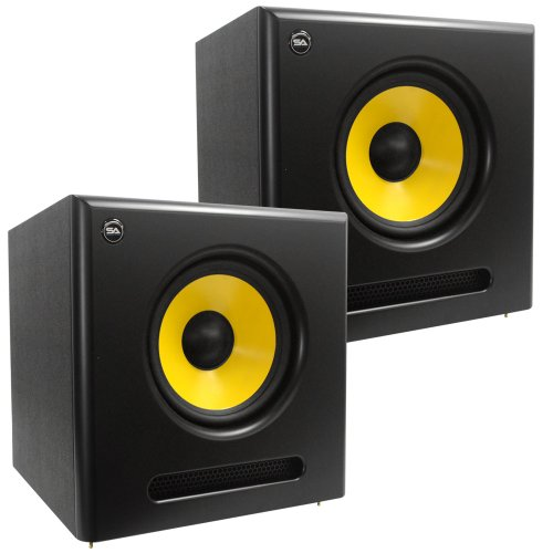 Seismic Audio - Spectra-10Sub-Pair - Pair Of Active 10 Inch Studio Subwoofers - 100 Watts Rms Each - Studio Subwoofers