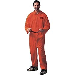 Forum Novelties Men's Adult Jailbird Costume, Orange, Standard