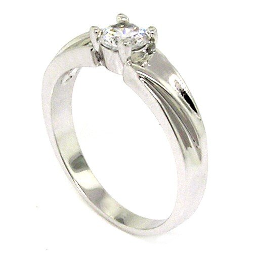 Classic Promise Ring w/Round Brilliant White CZ Size 10