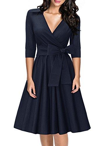 Miusol Damen Elegant kurzes Kleid mit Ärmeln