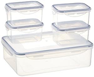 Camp 4 Set Di 5 Contenitori In Plastica Per Conservare Gli Alimenti Bianco Transparent