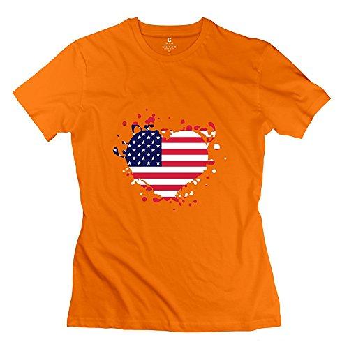 Tgrj Women'S Tshirt - Classic Flag Heart Us T Shirt Orange Size M