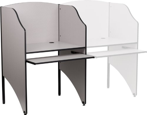 Flash Furniture MT-M6201-GY-GG Starter Study Carrel in Nebula Grey Finish, Gray