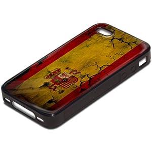 Drapeaux Espagne 1, Carte du Monde, Antichoc Tough Silikone Rigide Coque Etui Case Housse Noir avec l'Image Coloré pour Apple iPhone 4 4S.