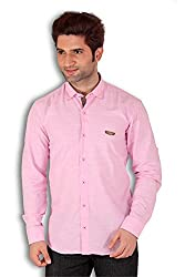 Kivon Men's Pink Plain Casual Shirt