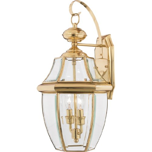 Quoizel NY8317B Newbury 2-Light Outdoor Wall Lantern, Polished Brass