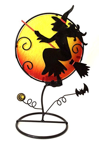 Bejeweled Display® Halloween Witch w/ Stain Glass Candle Holder & Home Decor
