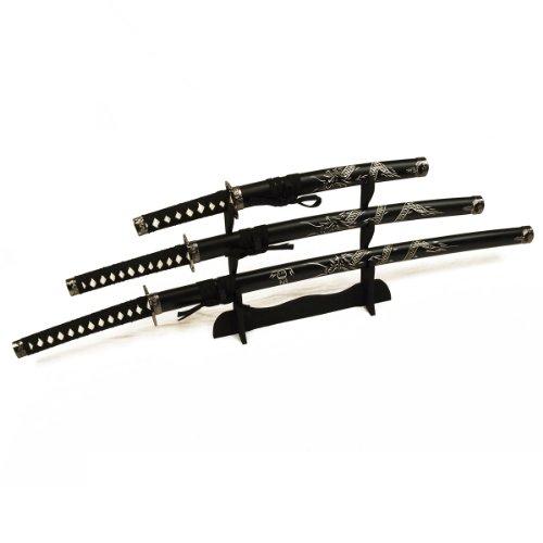 DerShogun Samuraischwert Set mit eingeschnitztem Drache - Katana, Wakizashi, Tanto + Sc...