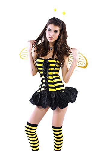Smile YKK Honey Bee Lace-up Dress With Wing Costume Cosplay Set