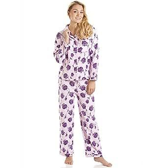 pyjama en flanelle haut manches longues et pantalon motif floral rose violet camille. Black Bedroom Furniture Sets. Home Design Ideas