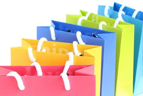 5 Geschenktaschen mit bunten Zeichen des Dankes - (Geschenktüte / Papiertasche matt) - Alternative für Geschenkpapier