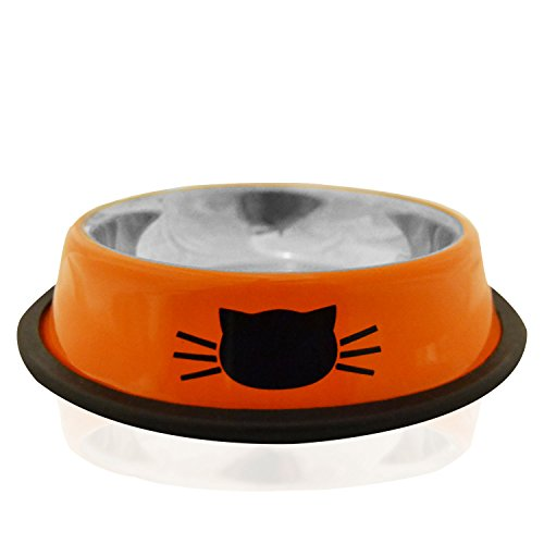 Cat Bowl By Petfuren - Non Slip Stainless Steel 8oz Cat Dish with Cute Cat Face (8 Oz Milk Jars compare prices)