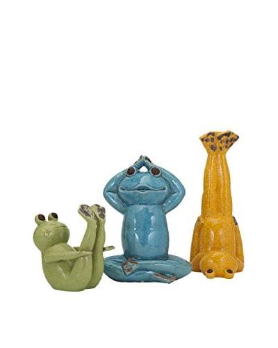 Set of 3 Yoga Frog Statuaries, Green/Blue/Yellow