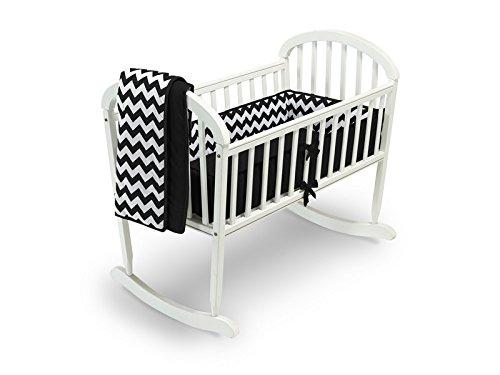 Baby Doll Chevron Cradle Bedding Set, Black