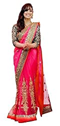 Shree fashion women's Top Fabrics semi stitched pink NET saree