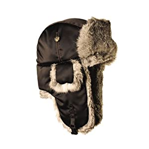 Mad Bomber Supplex Hat with Grey Fur, Black, Small