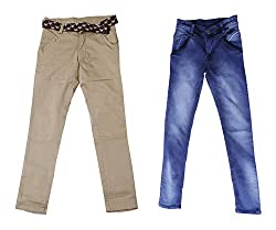 fourgee Boys Trousers- Pack of 2 (011- 1 _8-9 Years, Multi-Coloured, 8-9 Years)