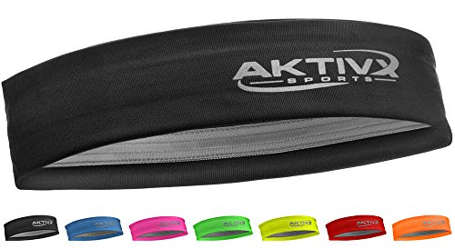 AKTIVX SPORTS Fitness Headband, Sports Headbands for Women, Fashion Headband, Running Headband, Women Headband, Men Headband, Yoga Exercise Headband - Black