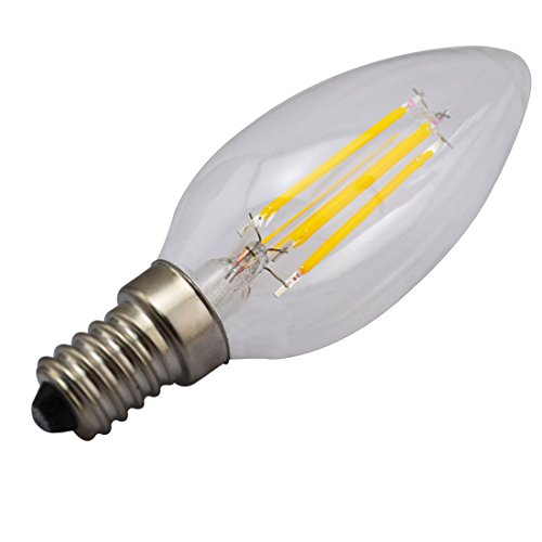 Grexistar 4W E14 Cob 400Lm Warm White 2800K Led Filament Candle Bulbs Softlight Ac110V Replace 100W Tungsten Core Incandescent Lamp 360 Degrees Omnidirectional