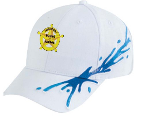 VOLUNTEER PORNO PATROL White Splash Hat / Baseball Cap