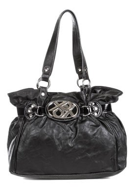 Cinch City Black Faux Leather Shoulder Bag: Black Shoulder Bag