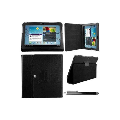 Hostey ® Samsung P5100 P5110 Tasche Hülle Schutzhülle Case Cover for Samsung Galaxy Tab 2 10.1 P5100 P5110 mit Ständer++ Displayschutzfolie (Bio Pu Leder) (Schwarz/BlackII)