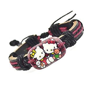 Hello Kitty Leather Bracelet Two Hello Kitty's Holding Teddy Bear, HKB:P0723