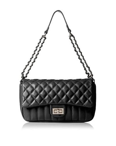 Zenith Women's Flap Over Quilt Shoulder Bag, Black
