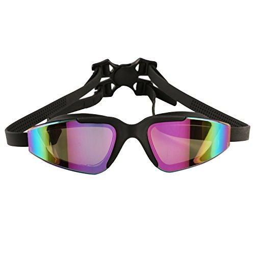 Schwimmbrille mit HOCHWERTIGEM Etui/Schutzhülle & OHRENSTÖPSEL von Bezzee-Pro, Antibeschlag-Schutz, getönte Gläser, hochwertig, wasserdichte Augenschalen, zwei verstellbare Riemen, für Erwachsene