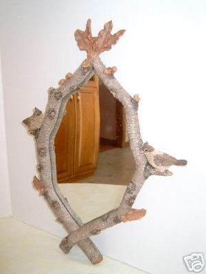 Resin Wall Mirror With Bird Wildlife Twig Motif